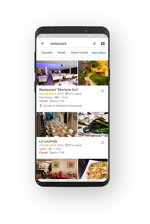Google Maps restaurant search