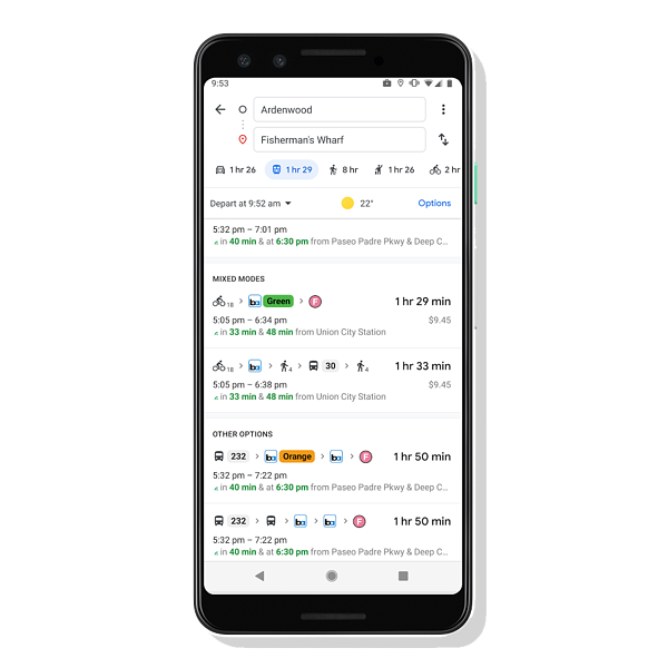 Combine transit directions with biking or ridesharing in google maps